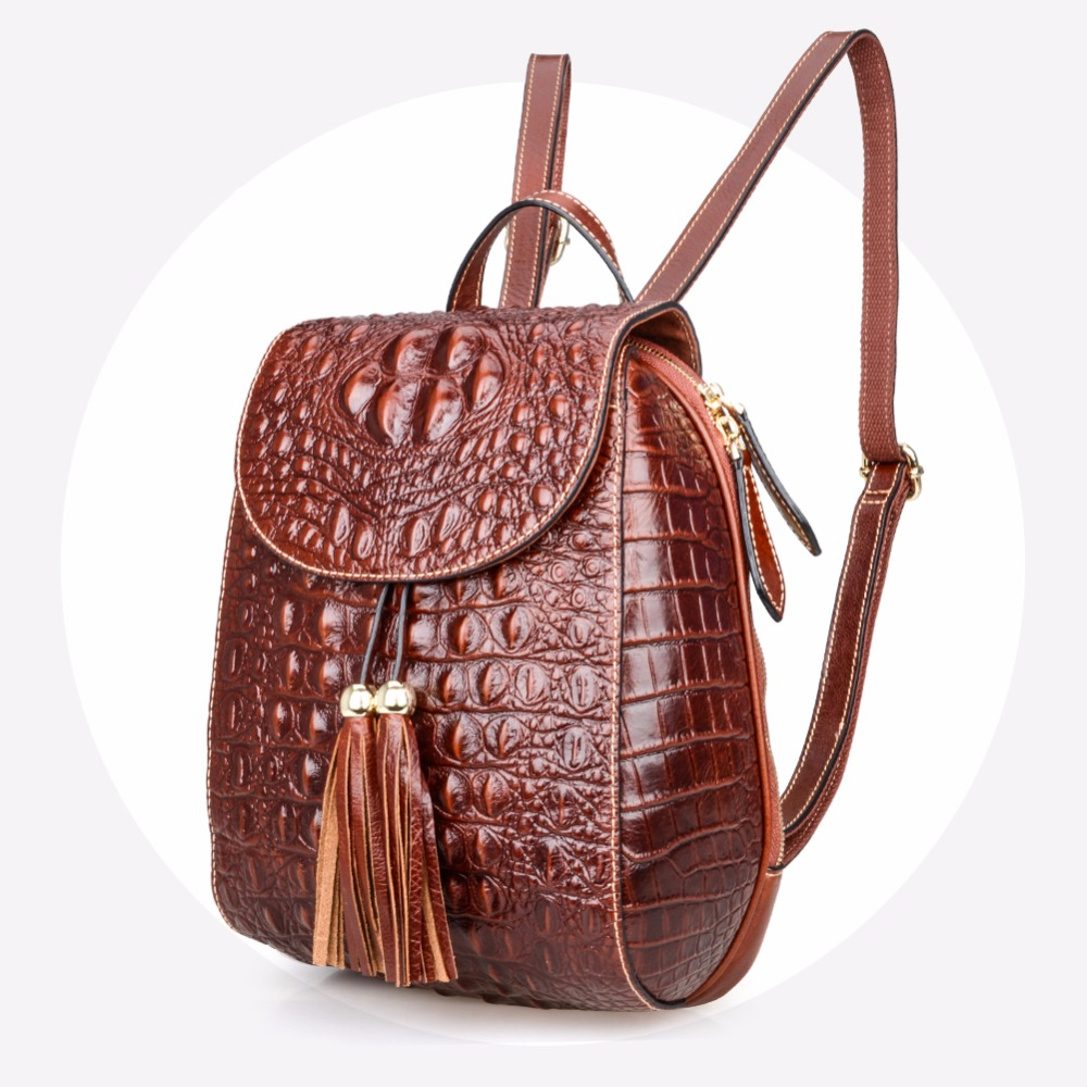 Maihui backpacks for teenage girls cowhide Crocodile Embossed Leather travel laptop backpack small fashion ladies school bags crocodile embossed pattern bright colour feminine genuine leather laptop backpack