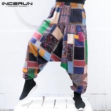 2018 Ethnic Men's Harem Pants Cotton Printed Big Crotch Joggers Hip-hop Vintage Trousers Loose Elastic Waist Pants Men Plus Size