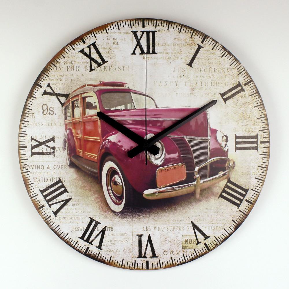 Retro Car Wall Decoration Watch Warranty 3 Years Vintage Home Decor