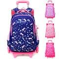 Съемные 2/6 колеса для детей  для мальчиков и девочек  на колесиках  школьный рюкзак  сумка для книг  рюкзак  детские школьные сумки  багаж для ...