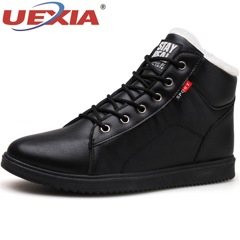 UEXIA New Mens Boots Autumn Winter Brand Plush Keep Warm Male Snow Boots Martin Motorcycle Boots Fashion Casual Shoes Fur Cotton new casual mens cheap winter shoes keep warm with fur outdoor male snow shoes plush boots fashion men s suede leather sneakers