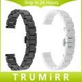 14mm pulseira de cerâmica completo + removedor de ligação universal watch band butterfly fivela correia das mulheres correia de pulso pulseira preta branco