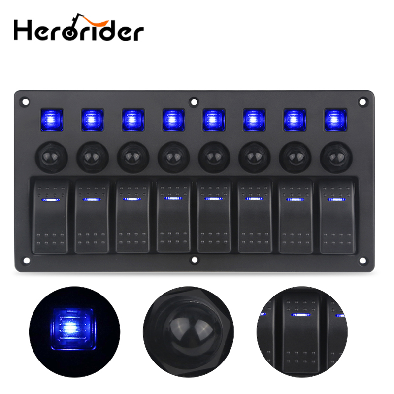 8 Gang Switch Panel 12V/24V Car Auto Boat Marine Yacht Waterproof Blue Led Light ON/OFF Rocker Switch Panel Circuit Breaker 24v 12v red blue led boat switch panel switches waterproof car cigarette lighter socket rv yacht marine boating accessories