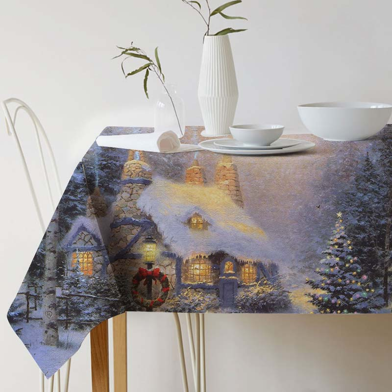Cotton Linen Tablecloth Thomas Kinkade Painting Art for table Decorative table cloth Dining Table Cover For Kitchen Home Decor