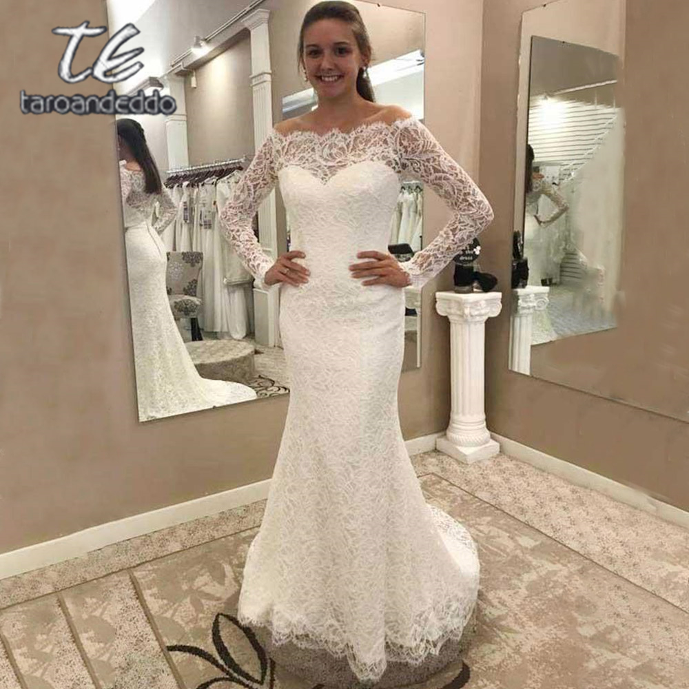 Boat Neck Lace Wedding Dresses Floor Length Illusion Back