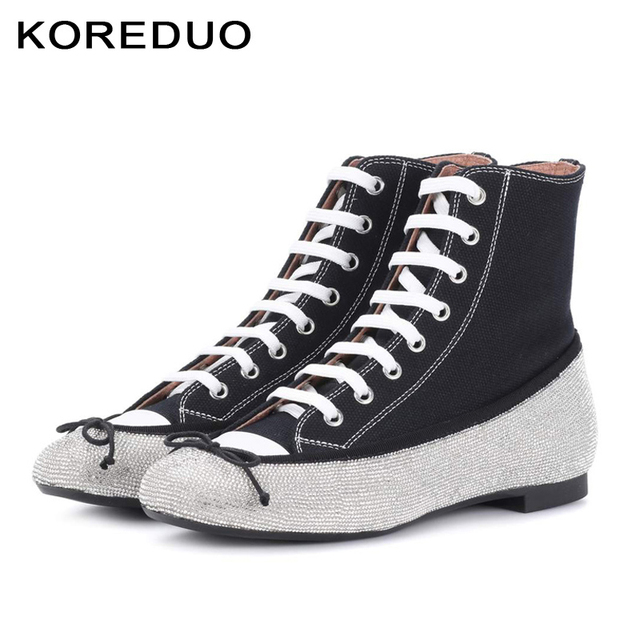 5a7a6440d26461 KOREDUO Women Canvas Flats Shoes Rhinestone Lace up Casual Shoes Women  Single Flats Sneakers Shoes Female