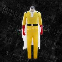 adult cos One Punch Man Saitama Cosplay Costume Set jumpsuit super man costumes with gloves