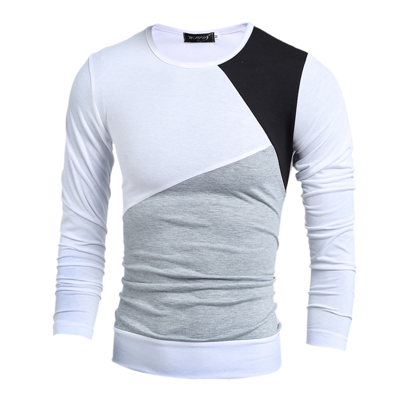 2016 new fashion brand casual slim fit tshirt striped for Mens slim fit long sleeve t shirts