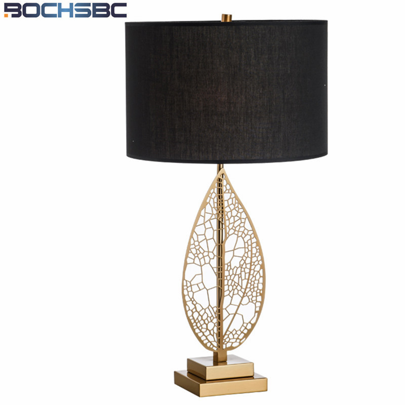 Modern hotel gold leaves stand table lamps living room - Black table lamps for living room ...