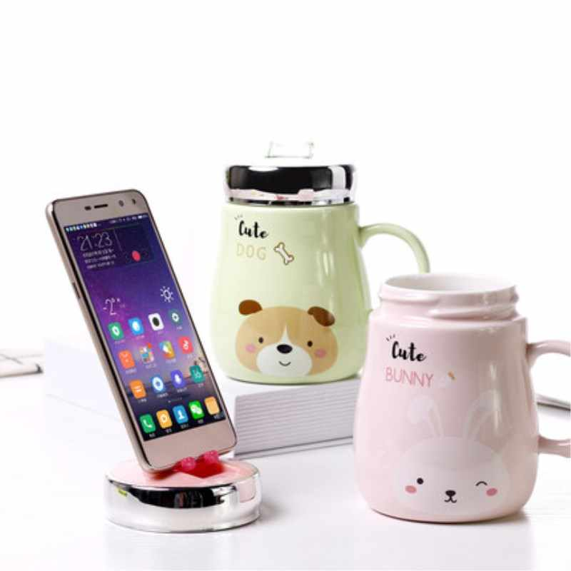 Hot Sale Mobile Phone Holder Animal Ceramics Mugs Coffee Milk Tea Cup Cute Cat Dog Bear Rabbit Mug Couple Drinkware For Children