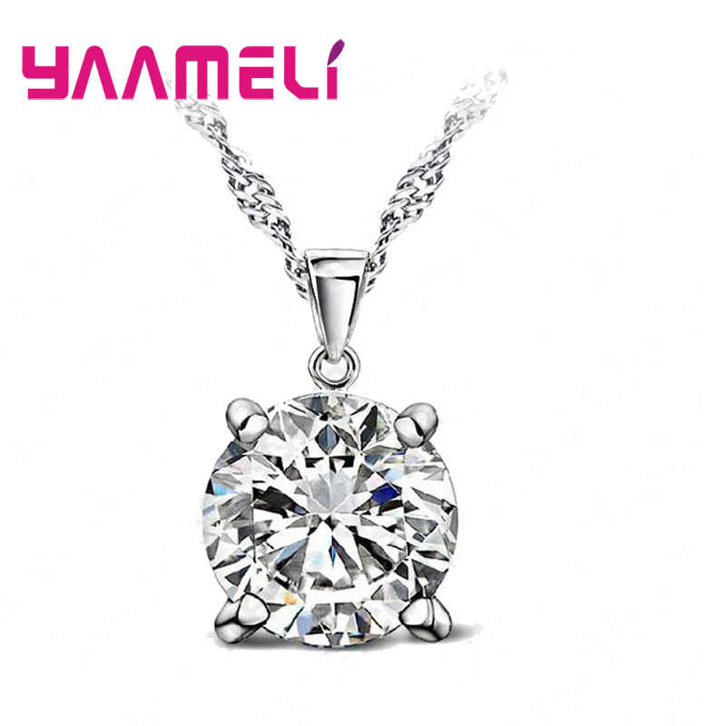 Solid 925 Sterling Silver Various Colors Hard Hot Selling Cubic Zirocnia Necklace Pendant For Women Ladies Wedding Gift