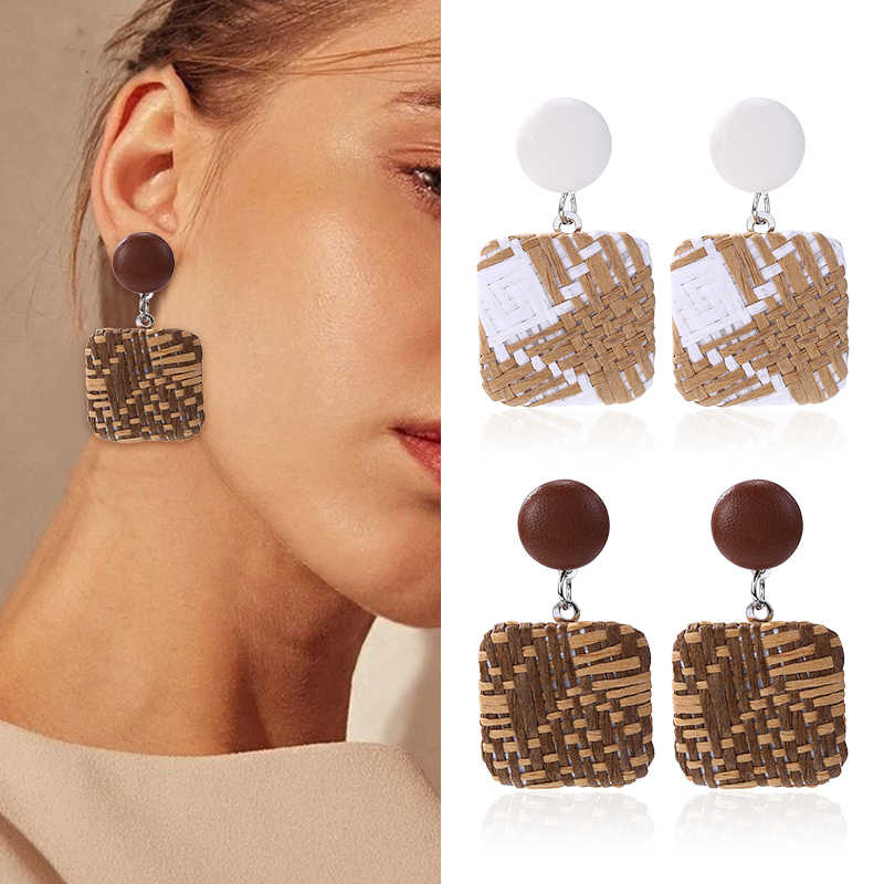 HOCOLE Fashion Rattan Weave Drop Earing For Women Geometric Bohemian Circle 2019 Wood Dangle Earrings Jewelry Women Bamboo