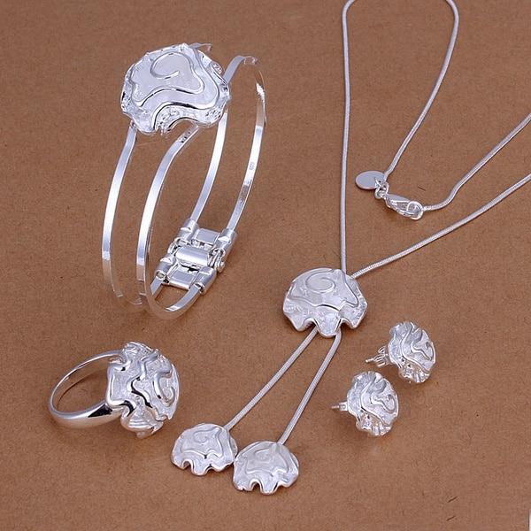 ורדים מדהימים קלאסי יוקרה אלגנטית אצילית אופנה בציפוי כסף 4 יחידות קובע צמיד עגיל טבעת שרשרת תכשיטי חתונה S245