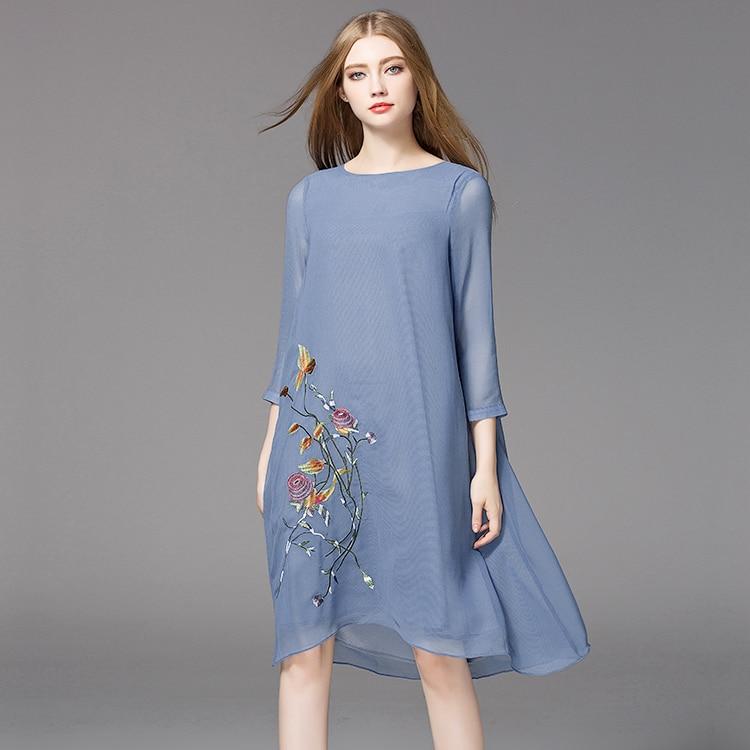 2017 Plus Size Cotton Floral 34 Sleeves Knee Length Midi -1650