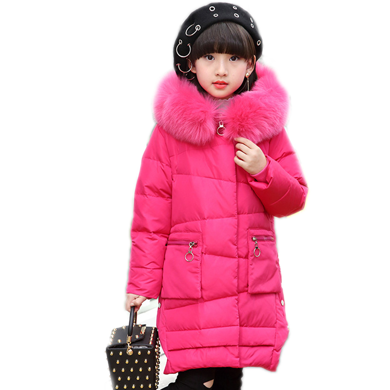 girls winter jackets long section solid children outwear thicken warm duck down jackets for girls big collar hooded kids parka new winter baby girls clothes white duck down parka warm goose down jackets for kid warm long coats big fur hooded for children