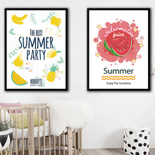 Nordic Watercolor Fruit Canvas Painting Print Watermelon Pineapple Pictures Wall Artwork Summer Poster Living Room Home Decor(China)