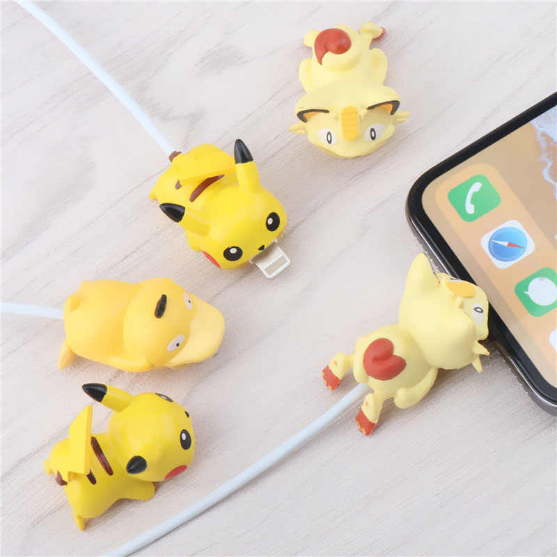 SIANCS Cartoon Pokemons Cable bite protector Anime for iphone USB Charging Cable Cute Animal Cable Holder organizer winder