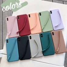 Lanyard Solid Color Silicone Couples Cases For iphone XR X XS Max 6 6S 7 8 Plus Cute Candy Soft Simple Fashion Phone Case
