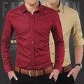 Camisas Dos Homens de alta Qualidade 2016 de Moda de Nova Primavera Dos Homens Camisa de Algodão sólidos Slim Fit Mens Casual Marca Roupas Plus Size M-5XL Hot