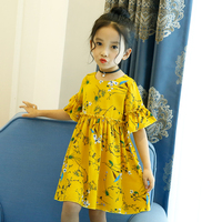 Baby Girls Dress Summer Beach Style Floral Print Party Dresses For Girls Vintage Toddler Girl Clothing