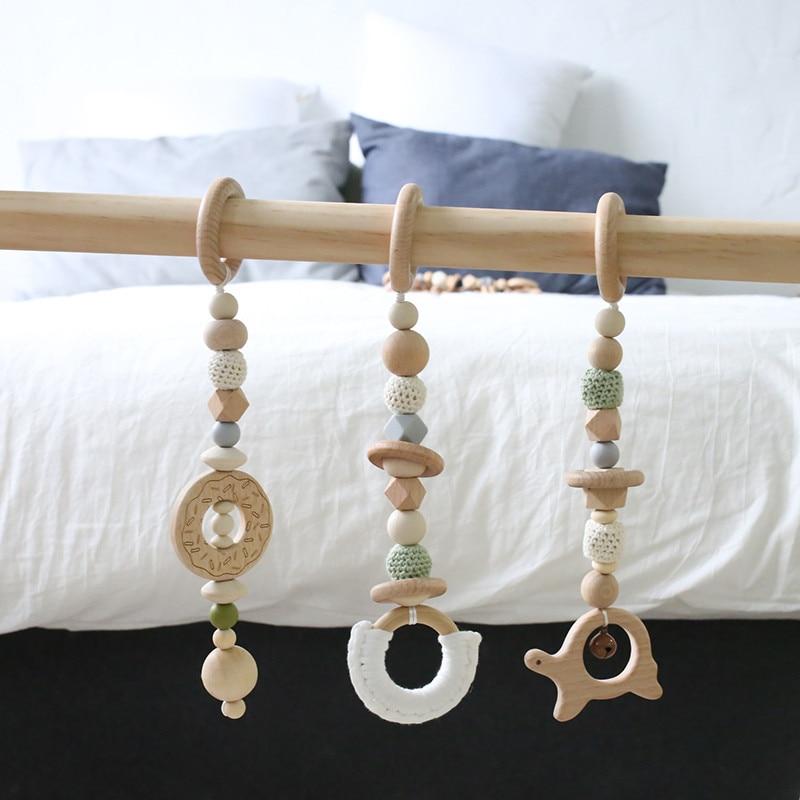 1 ensemble bébé hochet Mobile berceau Silicone perles hêtre bois beignet dentition bricolage à la main infantile lit poussette suspendus décor avec support - 4