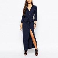 2017 새로운 패션 섹시한 여성 긴 소매 분할 버튼 긴 카디건 셔츠 블라우스 맥시 드레스 깊은 블루 의류 XXL H175-67E