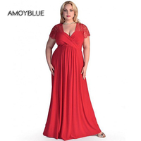 Amoyblue 2017 Large Size 6XL Spring Summer Sexy Red Black Dark Blue Women Maxi Dresses Loose