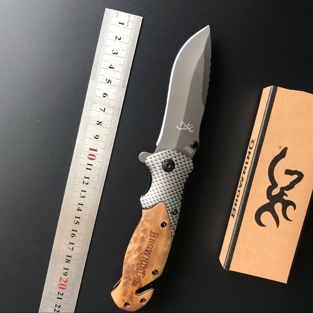 X50 Outdoors Folding Knife Steel Blade Wood Handle Tactical Pocket Survival Knives Huntting font b Fishing