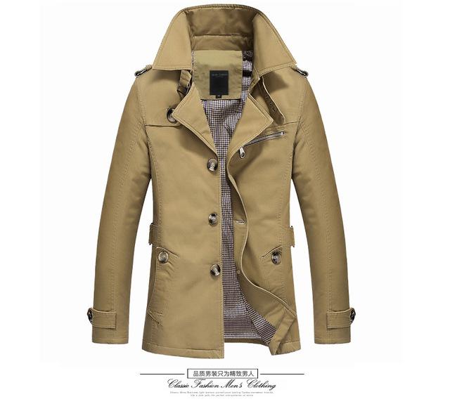 2016 moda casaco de algodão casaco homem jaqueta de longo sólida preto Plus Size trincheira casacos