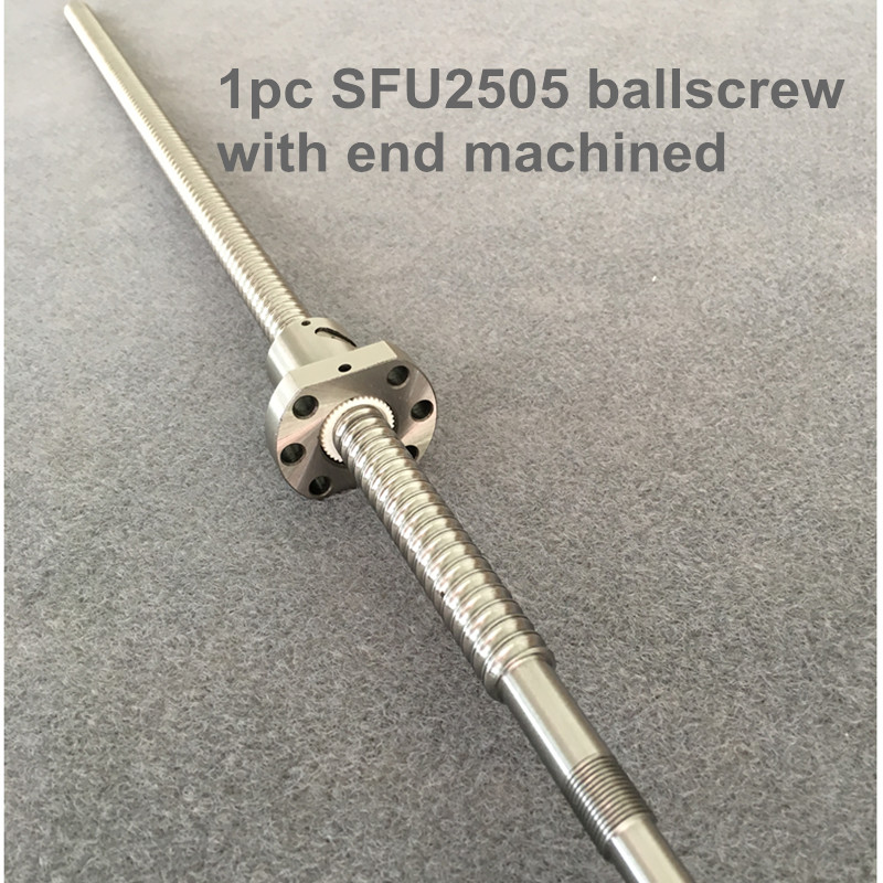 BallScrew SFU2505 300 400 450 500 600 700 mm ball screw C7 with 2505 flange single ball nut <font><b>BK</b></font>/<font><b>BF20</b></font> end machined for cnc Parts image