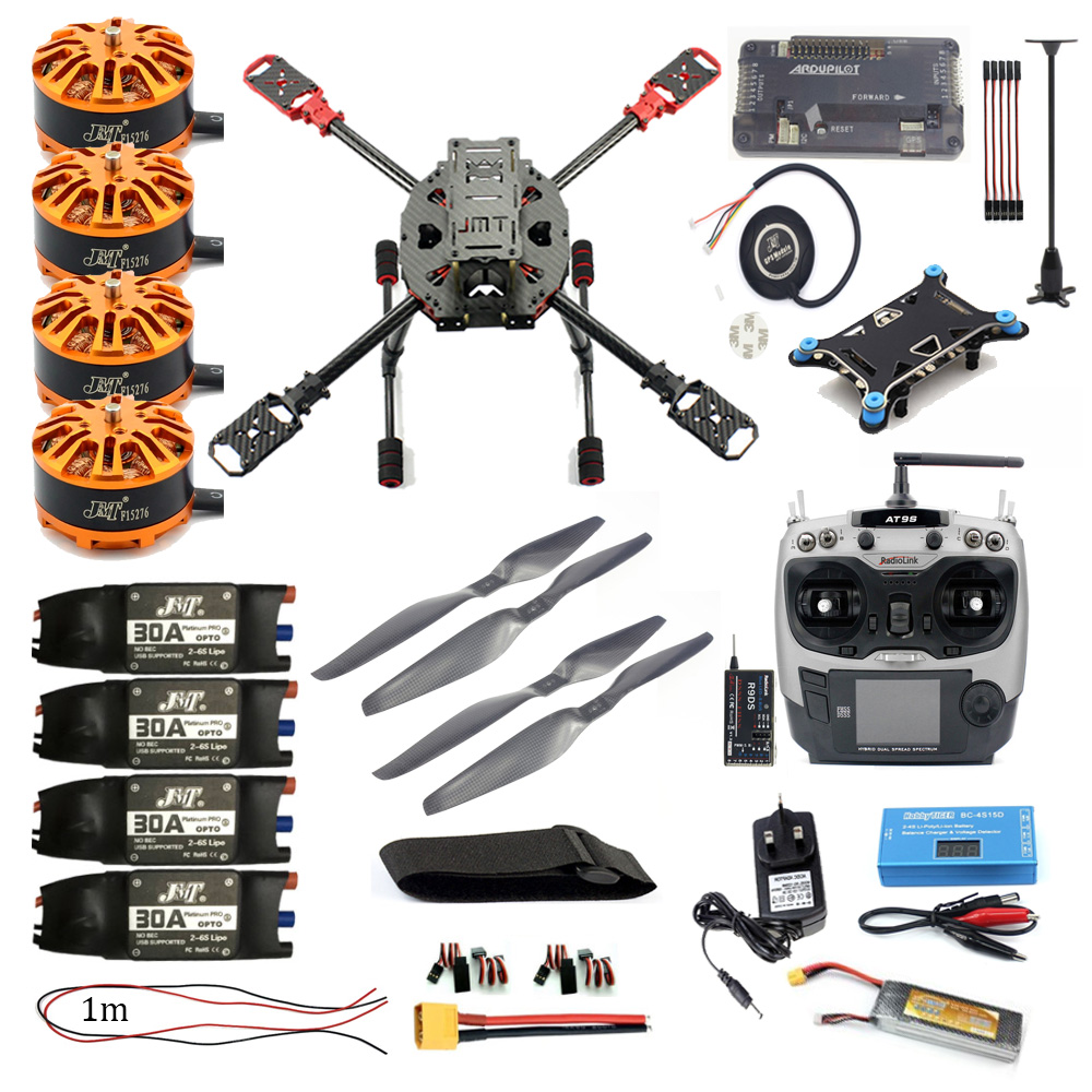 Full Set FPV DIY 2.4GHz 4-Aixs RC Aircraft  APM2.8 Flight Controller M7N GPS 630MM Carbon Fiber Frame Props with AT9S TX Drone f2s flight control with m8n gps t plug xt60 galvanometer for fpv rc fixed wing aircraft