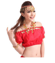 2016 New arrivals women sexy red belly dance tops sequin belly dancing top on sale