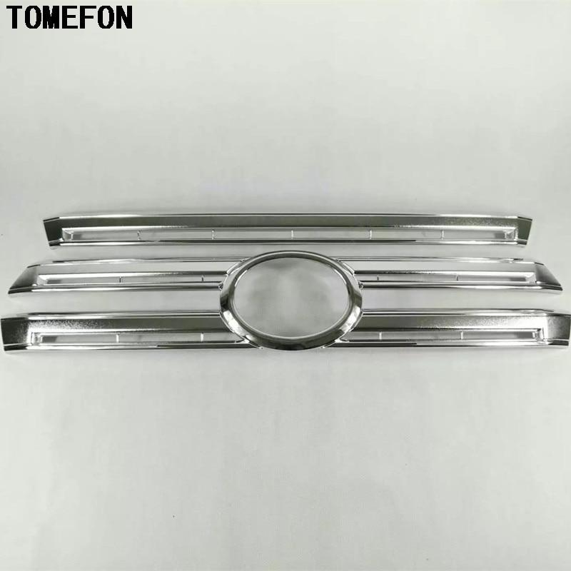 Pour Toyota Land Cruiser LC200 2016 ABS Chrome voiture Grille centrale calandre décorative garniture 2 pièces