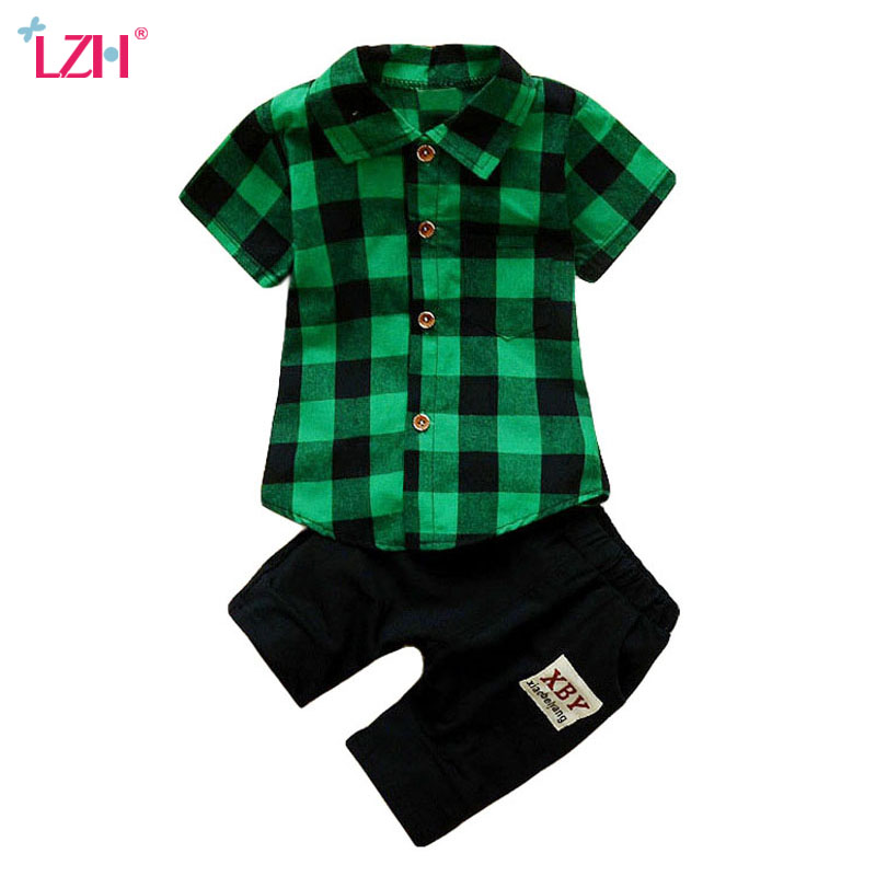 LZH Children Clothing 2018 Summer Baby Boys Clothes T-shirt+Shorts 2pcs Outfits Kids Boys Sport Suits Toddler Boys Clothing Sets