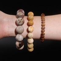 Natural Polished Petrified Wood Crystal Round Beads Tree Bracelet Necklace UNISEX Quartz Crystal Luck And Energy