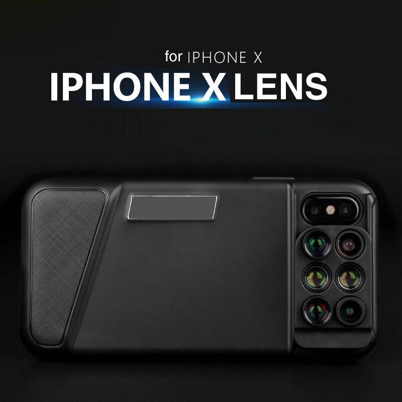 6 dans 1 Téléphone Objectif Grand Angle Fish Eye 20X Macro Téléobjectif pour iPhone X Cas avec Caméra Externe Caméra pour iPhone 7 8 plus Dix