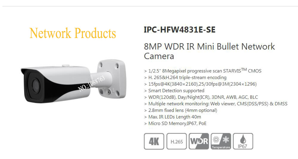 Free Shipping DAHUA CCTV Camera 4K 8MP WDR IR Mini Bullet Network Camera IP67 With POE Without Logo IPC-HFW4831E-SE free shipping dahua ip camera cctv 8mp ir bullet network camera with poe ip67 without logo ipc hfw5830e z5