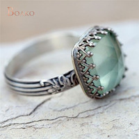 Старинный зеленый камень Перидот кольцо Принцесса яркое серебро Анель Bague австрийского Хрусталя Кольца для Для женщин девушка свадебные украшения Z4