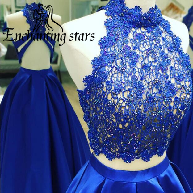 2017 High Neck Prom Dresses Lace Appliques Crystals Two Piece Women Runway Fashion Dress Vintage A-Line Evening Party Gowns - Molibridal_ Store store