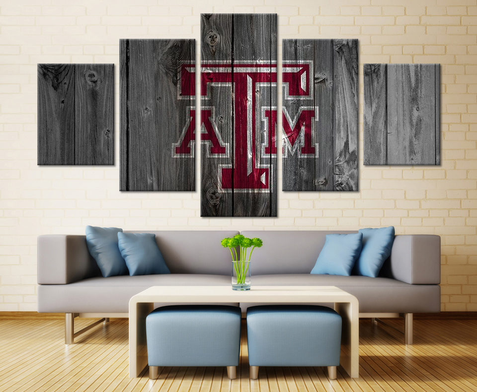 5 panels hot texas a m aggies sports poster for modern for Home decoration images hd