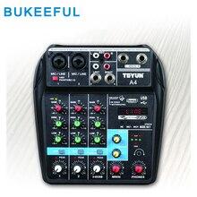 Bluetooth USB аудио микшер 4 канала звук микшерные консоли усилитель мини аудио микшер Профессиональный для DJ караоке