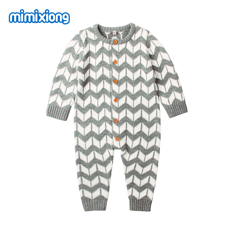 Newborns Baby Boy Girl   Rompers   Stripe Knitted Infant Jumpsuits 0-24M Toddler Bebes Long Sleeve Overalls Children Outfits Clothes