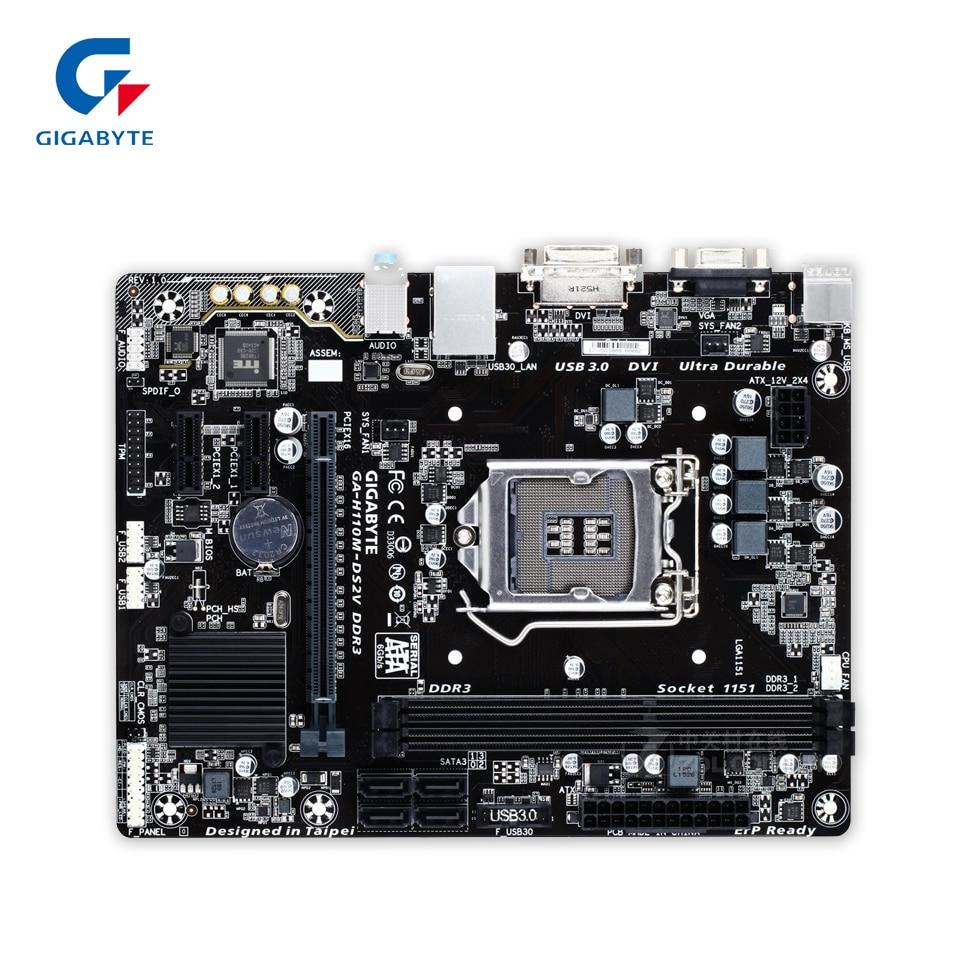 Gigabyte GA-H110M-DS2V DDR3 Desktop Motherboard H110M-DS2V H110 LGA 1151 Core i7 i5 i3 DDR3 32G SATA3 USB3.0 VGA DVI Micro-ATXGigabyte GA-H110M-DS2V DDR3 Desktop Motherboard H110M-DS2V H110 LGA 1151 Core i7 i5 i3 DDR3 32G SATA3 USB3.0 VGA DVI Micro-ATX
