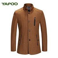 TAPOO 2018 Yeni Tasarım Erkek Yün Ceket Sonbahar Kış Sıcak rüzgarlık Yün Ceket Erkekler Artı Boyutu M-XXXL Standı Yaka Ince palto