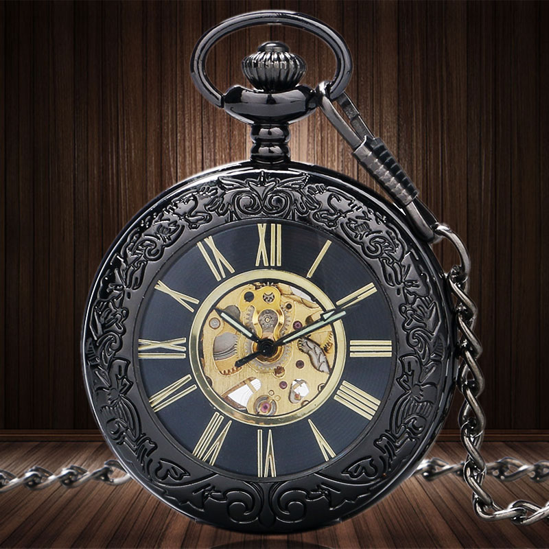 Antique Glass Case Mechanical Hand Wind Skeleton Gears Mechanical Pocket Watch Men Women Watches Pocket Necklace Chain Gift antique hollow carving horse quartz pocket watch steampunk bronze fob clock for men women gift item with necklace 2017