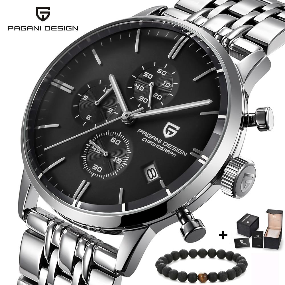 PAGANI luxury design Marca de Topo simples Relógio Cronógrafo Dos Homens de aço inoxidável Militar Relógios Vestido Relógio de Pulso de Quartzo Masculino