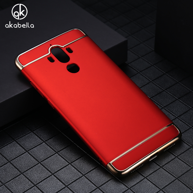 AKABEILA Plating Plastic Case Cover For Huawei Mate 9 Mate9 MHA-L29 MHA-L09 5.9 inch Case Matte Phone Bag Plating Back Housing