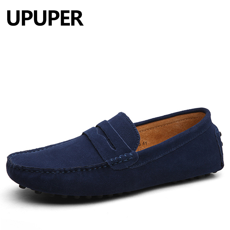 New Spring Autumn Soft Leather Men Casual Flat Shoes Cow Nubuck Leather Men's Loafers Moccasins Male Driving Shoes Plus Size 47 dekabr new 2018 men cow suede loafers spring autumn genuine leather driving moccasins slip on men casual shoes big size 38 46