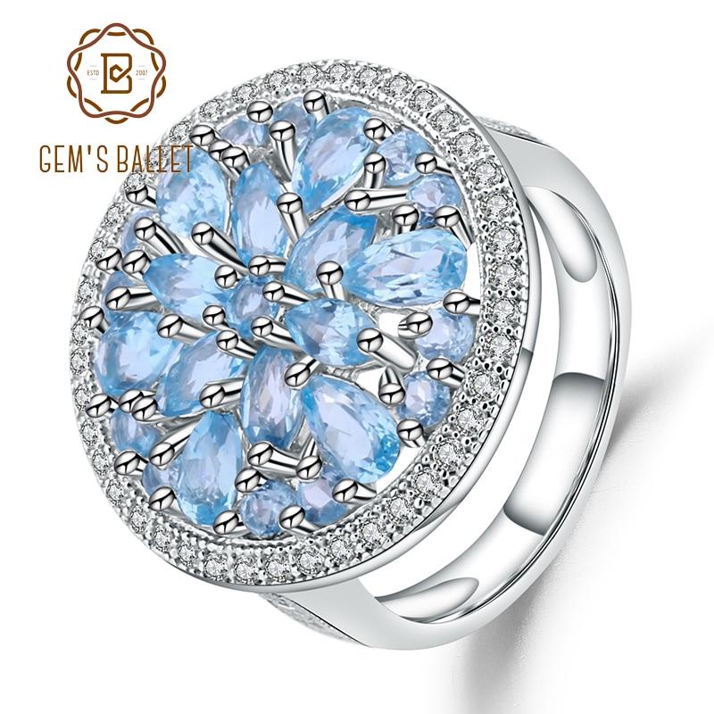 GEM S BALLET Natural Swiss Blue Topaz Genuin 925 sterling silver Round Vintage Fashion Rings For