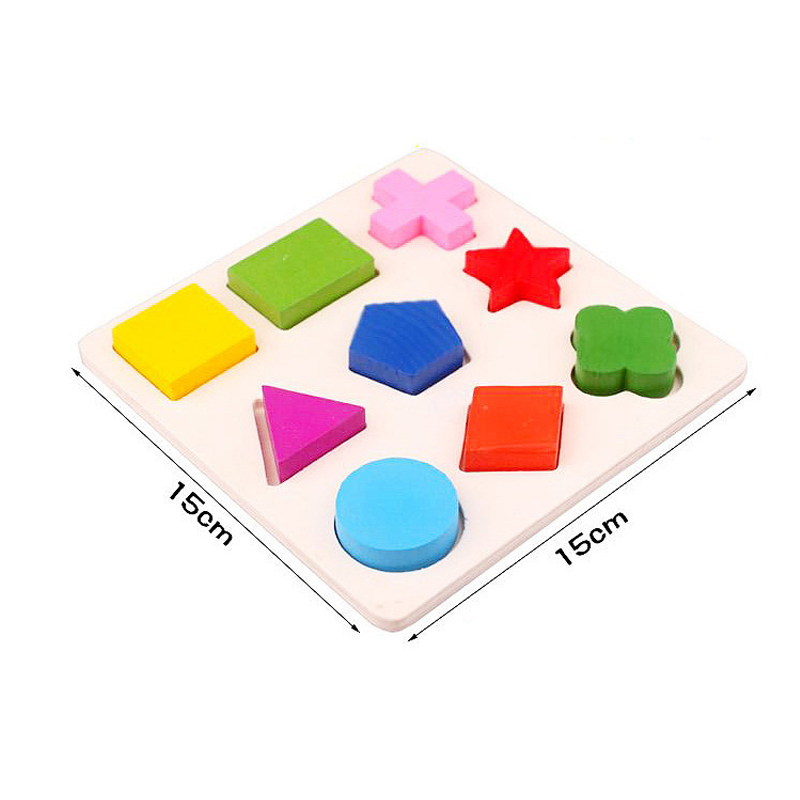 Montessori Toys Educational Wooden Toys for Children Early Learning 3D Puzzles Colorful Geometry Shape Matching
